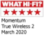 What Hi-Fi? Momentum True Wireless March 2020 award logo