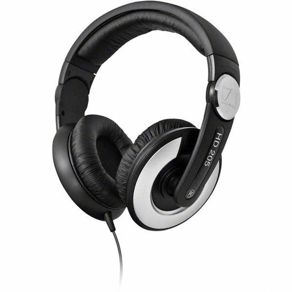 sennheiser hd 205 dj headphones closed excellent stereo sound quality. Black Bedroom Furniture Sets. Home Design Ideas