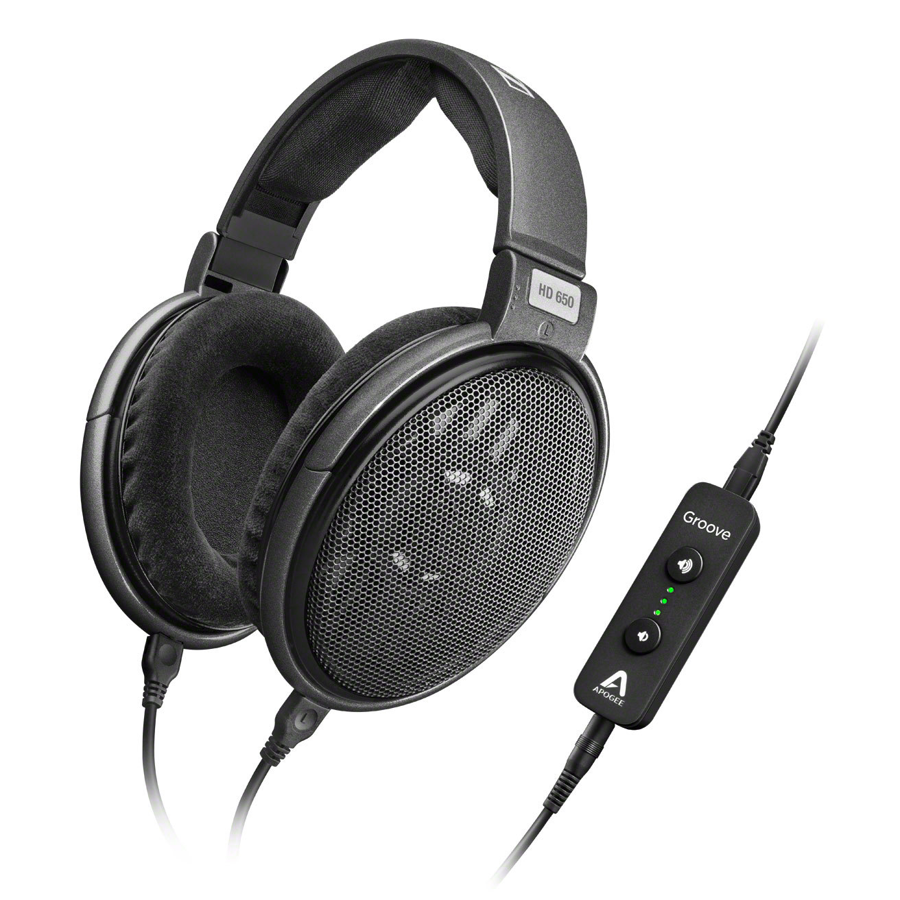 Sennheiser HD 650 Over-Ear 3.5mm Wired Professional Headphones + Apogee GROOVE Portable USB DAC and Headphone Amplifier